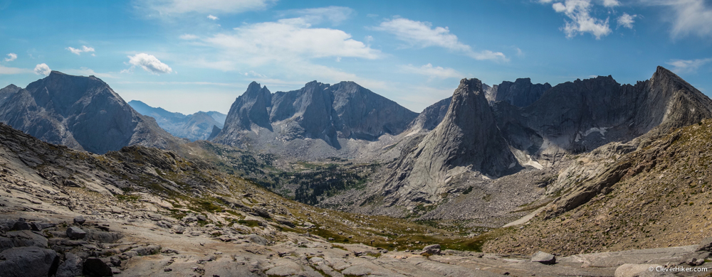 Cirque of the Towers panorama from Texas Pass
