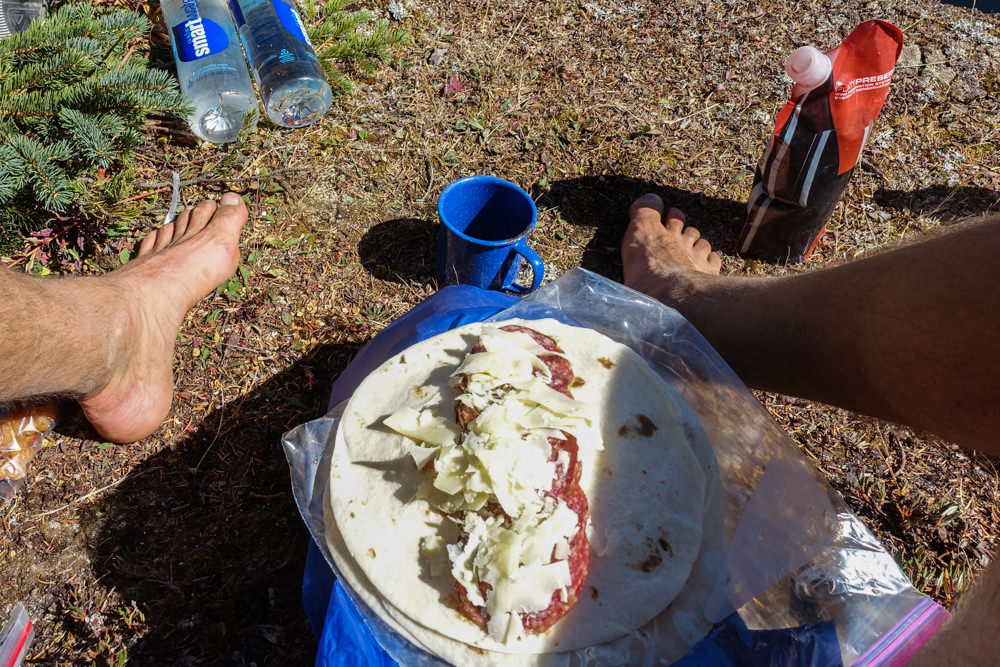 We almost always have a cold lunch on the trail to avoid the time, effort,  and fuel required for cooking. We commonly make tortilla or bagel  sandwiches with ... d395ff3113