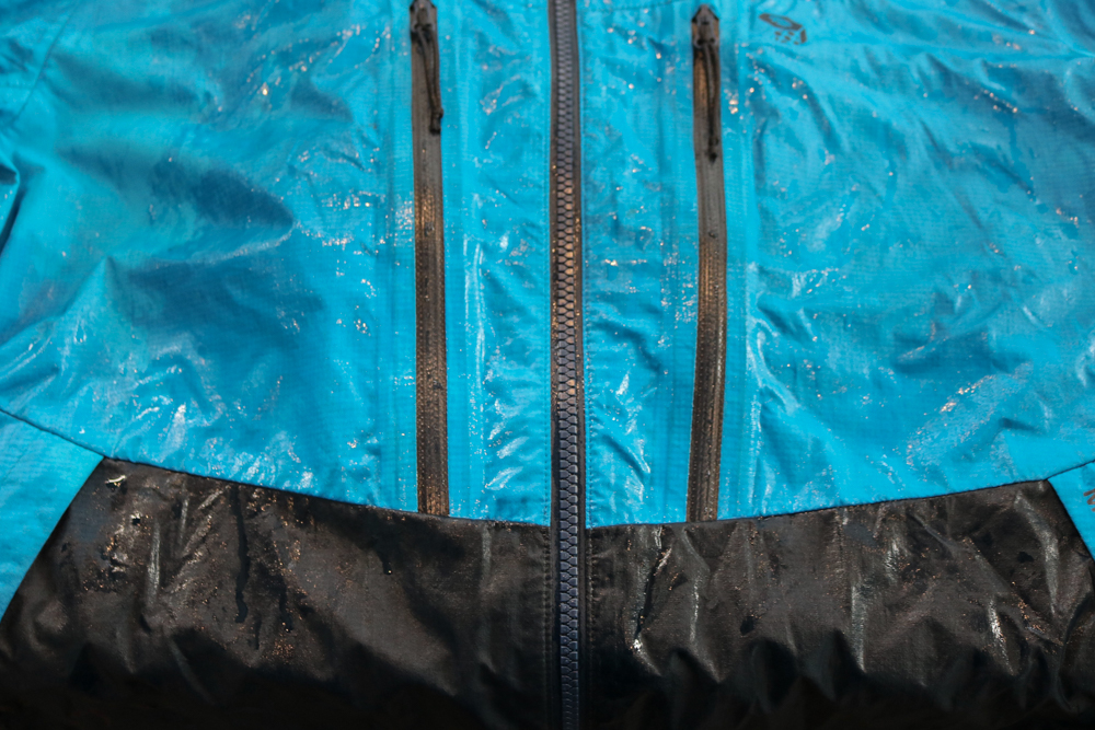 "a ""wetted out"" rain jacket prior to washing"