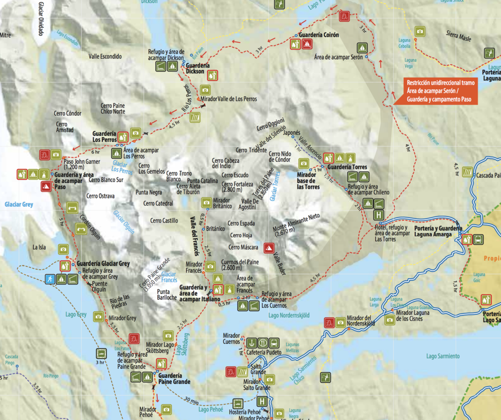 Map of torres del paine national park - image from torresdelpaine.com