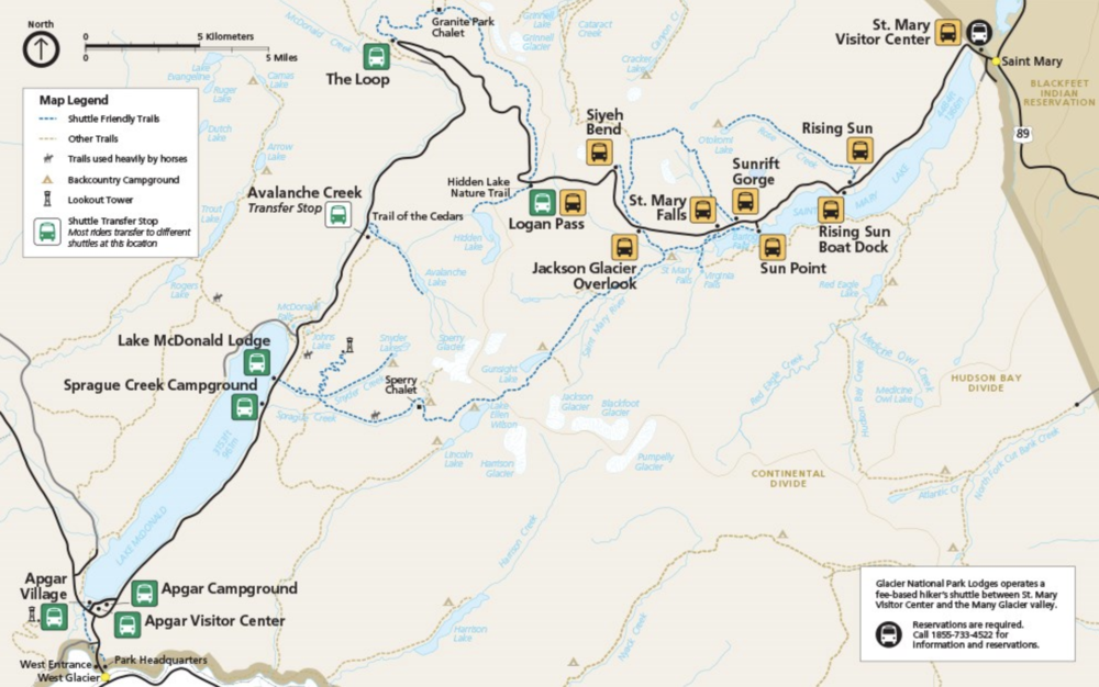 Map of shuttle routes & stops provided by nps.gov