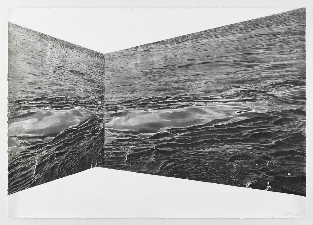 "Skewed Water II, charcoal on paper, 60"" x 48"", 2017"