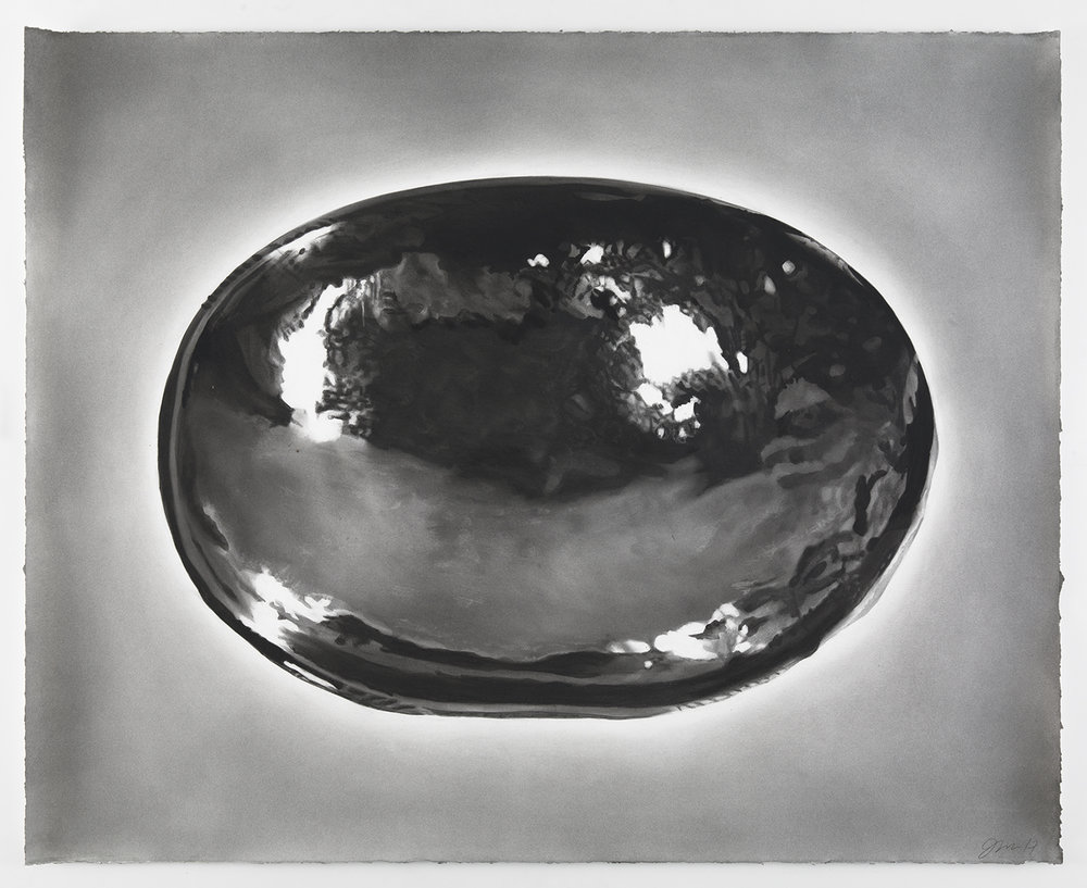 "Portrait of the bowl of a Dutch Colonial spoon, charcoal on paper, 48"" x 31"", 2017http://www.mcny.org/exhibition/new-york-silver"