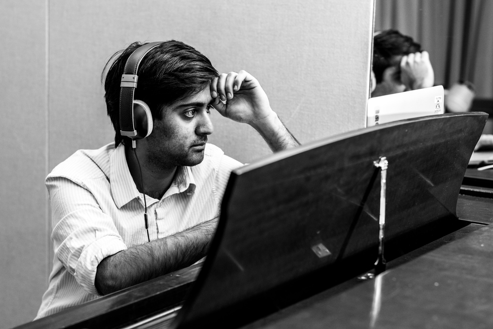 """Nikhil working hard on his next single, """"Adeline"""" -  here's  the finished product.   Also, check out his band,  Snughouse ."""