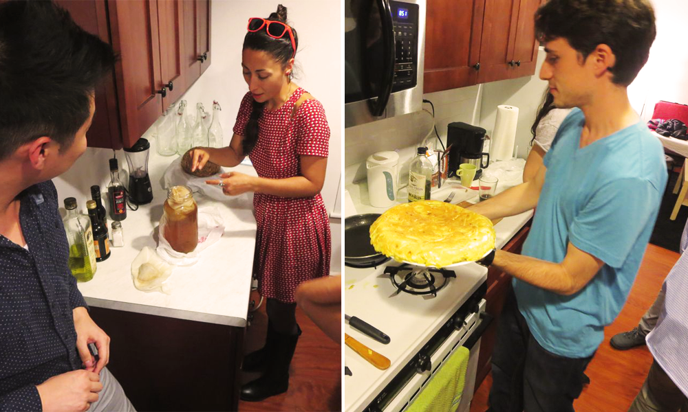 At left, Mari treats the group to homemade kombucha. At right, Guillermo's finished tortilla. © Miles Howard