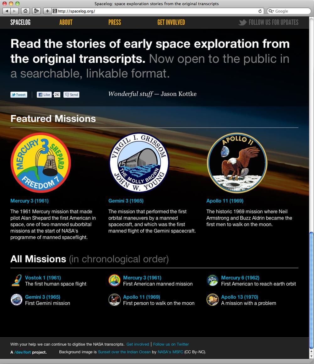 Spacelog.org's homepage