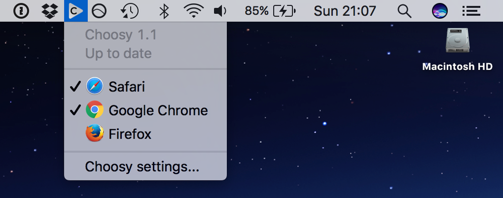 Choosy, active state, in the menu bar