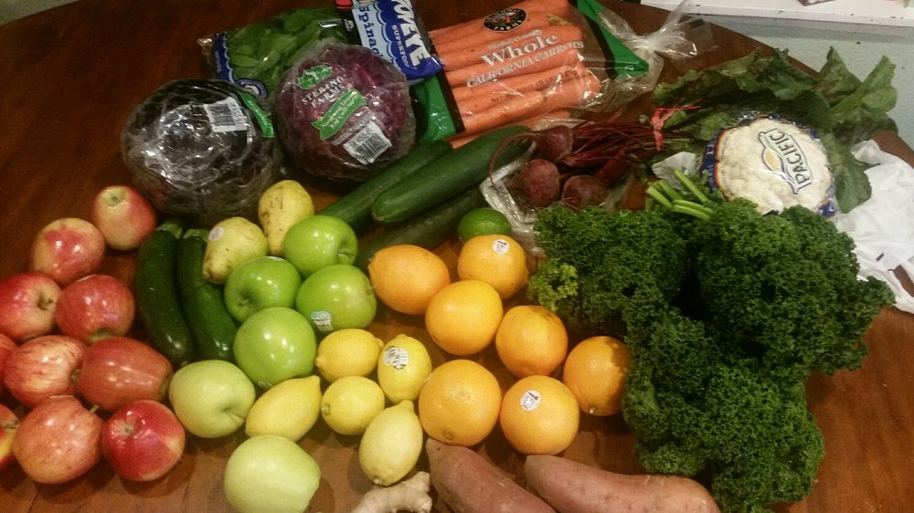 My produce for the first three days :) Check out the grocery list below