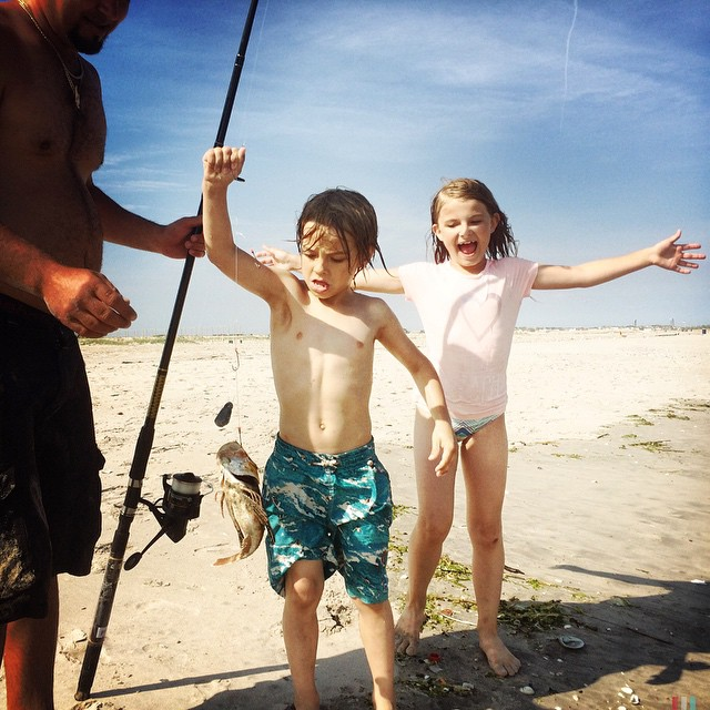 Toby caught a fish! #lulz #beach #brooklyn #nyc #newyorkcity #family #friends