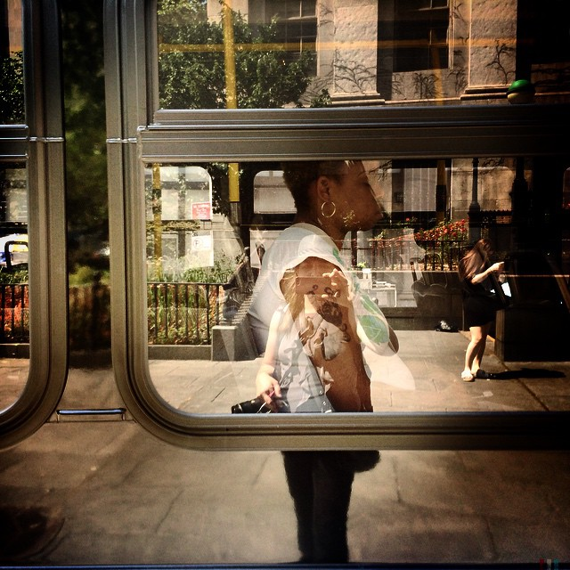 #selfportrait into the bus window #downtown #brooklyn #nyc #streetphotography #reflection #newyorkcity #iphone
