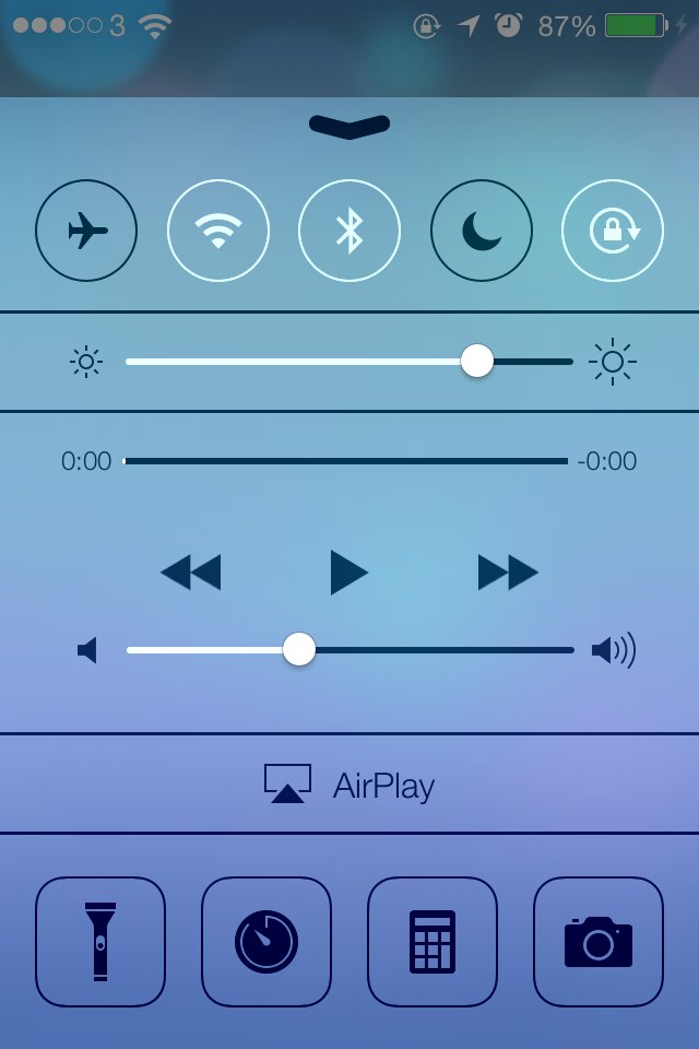iOS7 Control Centre