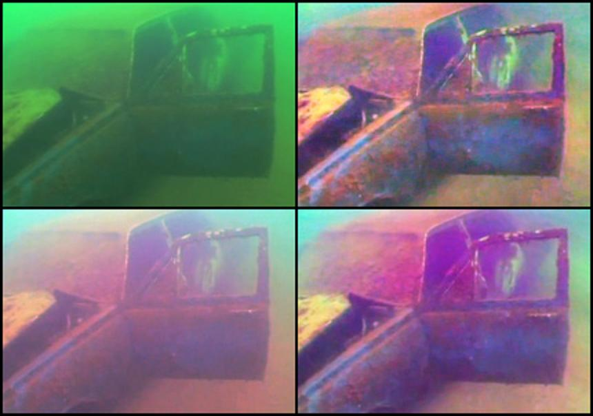 C-Enhancer enhanced diver video footage of submerged vehicle