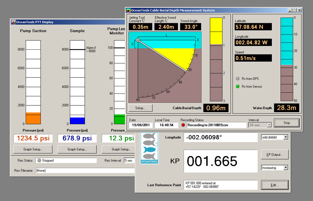 Bespoke graphical user interface (GUI) software for subsea sensors