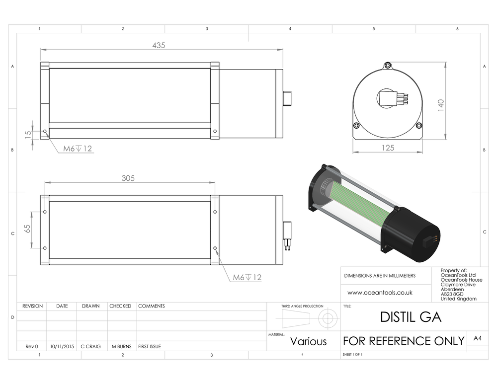 DISTIL integrated display and tilt sensor GA diagram