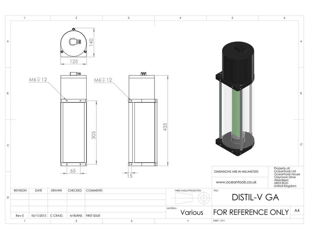 DISTIL-V vertical display and tilt sensor GA diagram