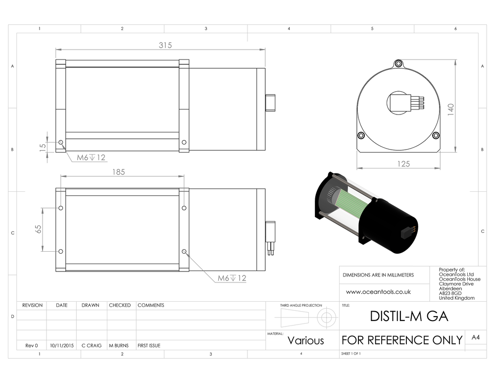 DISTIL-M mini display and tilt sensor GA diagram