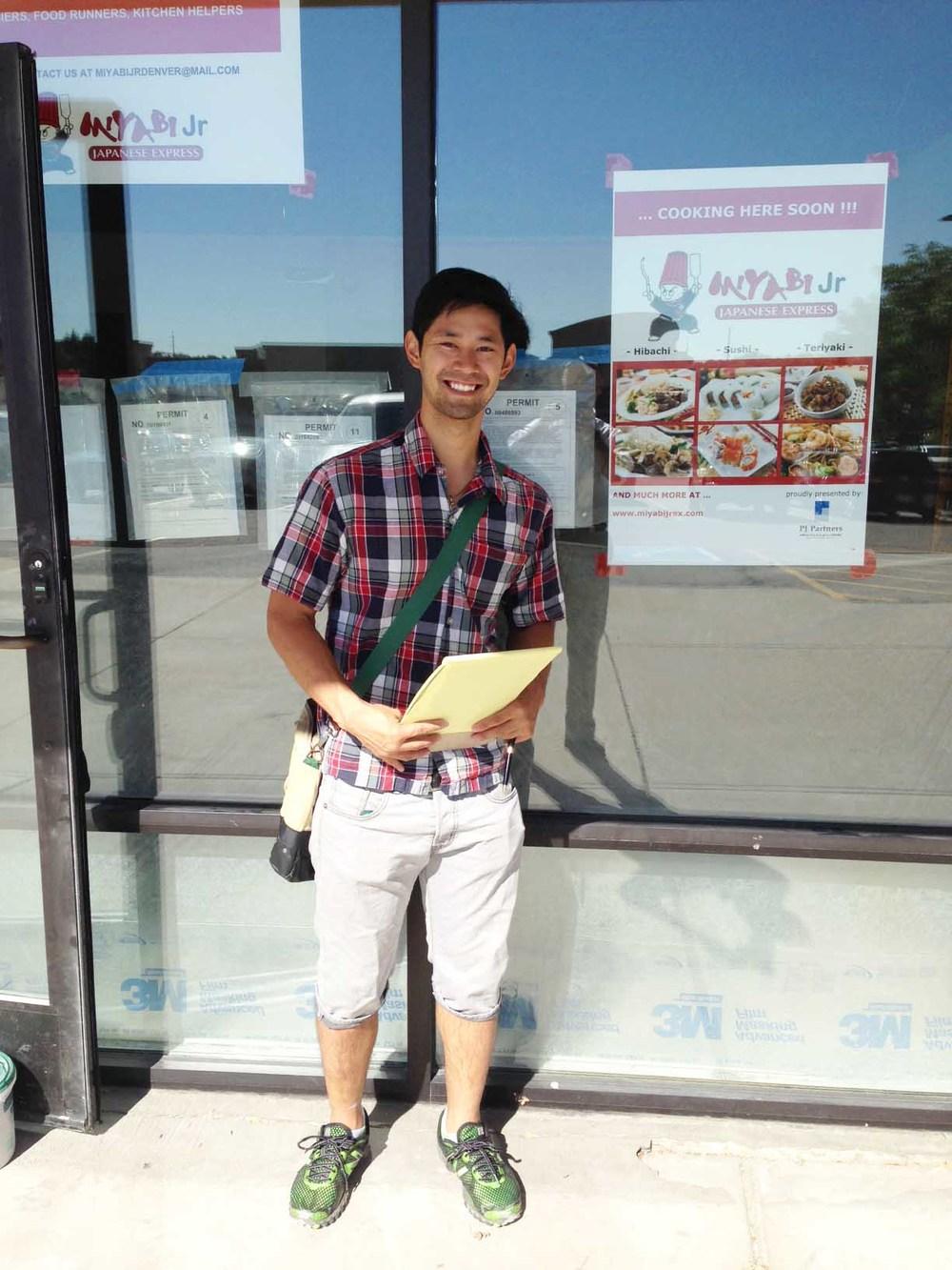 Junya Nakajima in front of the soon to open Miyabi Jr. Express, Denver CO