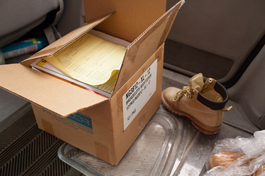 Upon leaving, all of Bibi's belongings are packed into this one box. Her release I.D. and paperwork prove to be no help in the coming weeks.