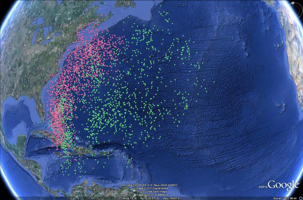 Geolocator data from Audubon's Shearwater (red) and White-tailed Tropicbird (green)
