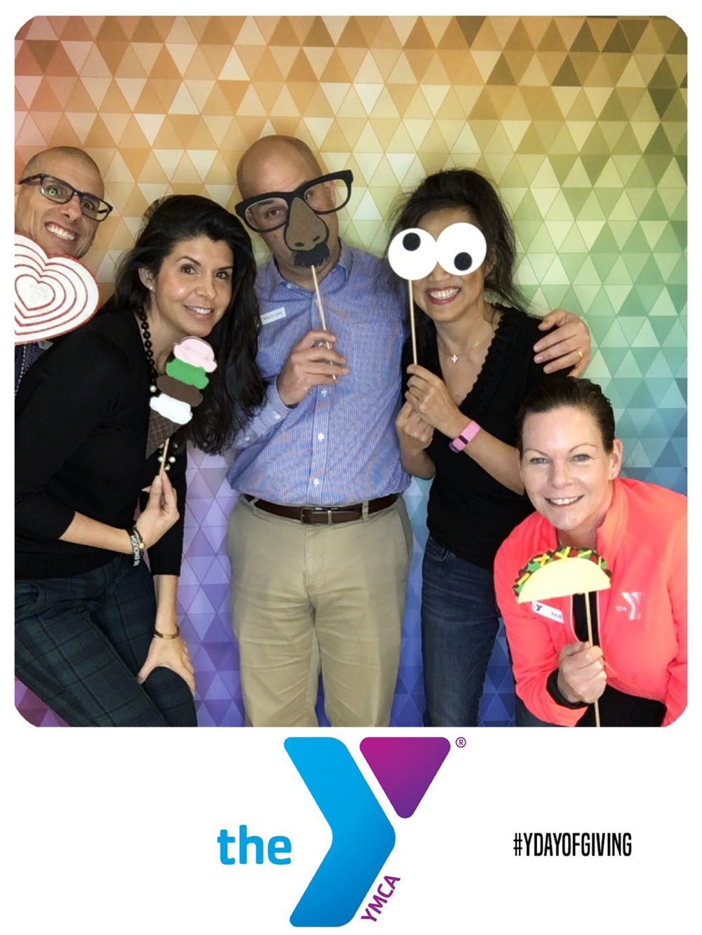 The Photo frame has the clients logo, YMCA, and their hashtag for the event. All of this is customizable when you book our services.