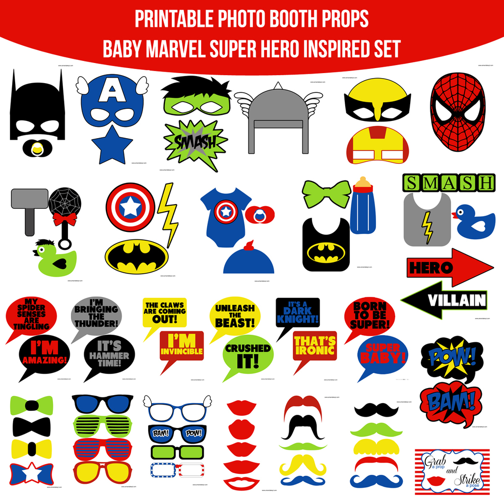 Instant Download Baby Marvel Super Hero Inspired Printable