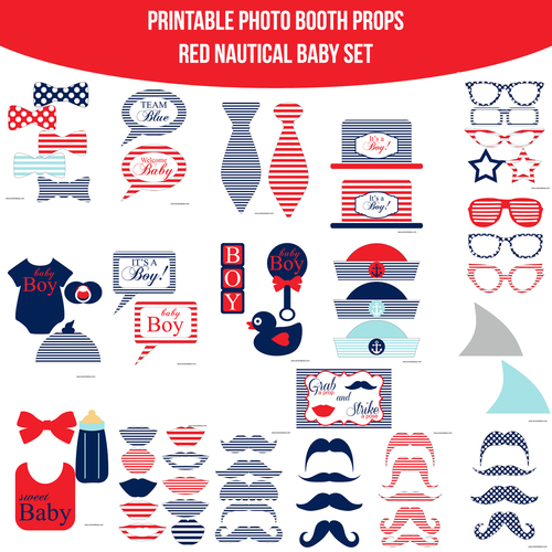 Instant Download Baby Nautical Red Printable Photo Booth Prop Set