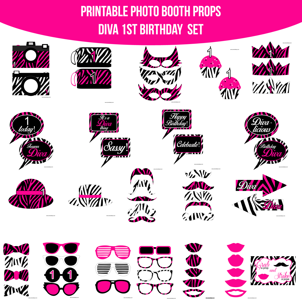 photograph about Free Printable Photo Booth Props Birthday referred to as Fast Obtain Diva To start with 1st Birthday Printable Picture Booth Prop Preset  Amanda Keyt Printable Types
