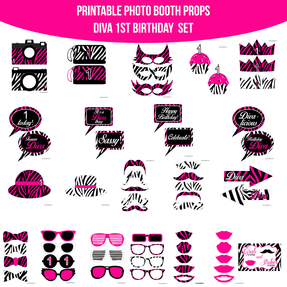 Printable Birthday Photo Booth Props ~ Instant download diva first st birthday printable photo