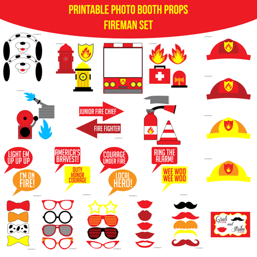 Instant download fireman printable photo booth prop set amanda instant download fireman printable photo booth prop set solutioingenieria Images