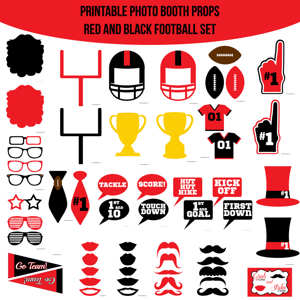 instant download football red black printable photo booth prop set