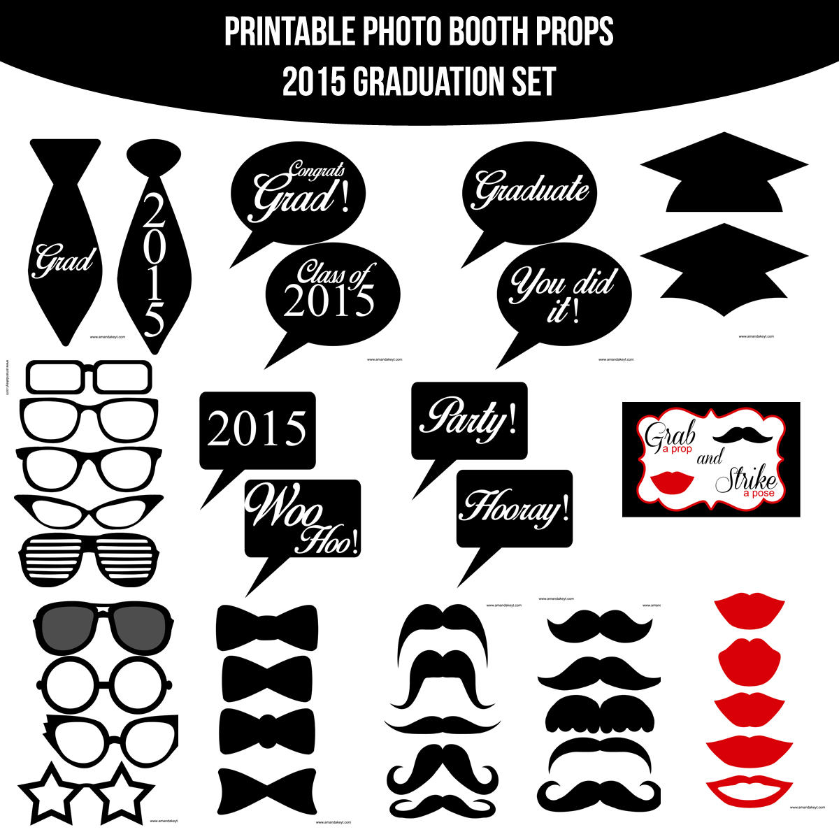 photograph regarding Printable Graduation Photo Booth Props named Quick Down load Grad 2015 Printable Picture Booth Prop Fastened Amanda Keyt Printable Types