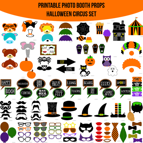instant download halloween circus printable photo booth prop set - Halloween Photography Props
