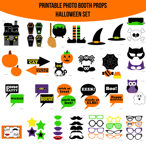 instant download halloween printable photo booth prop set - Halloween Photography Props