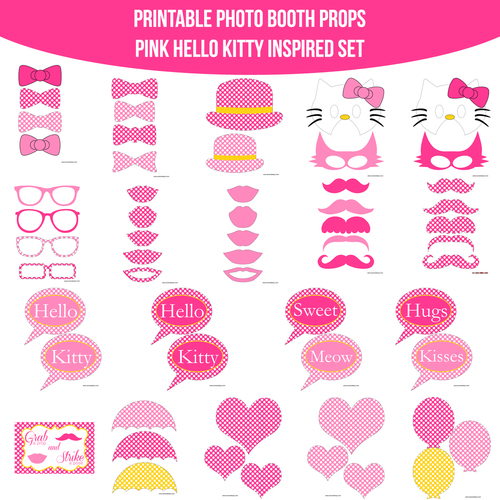 Instant download kitty pink hello kitty inspired printable photo instant download kitty pink hello kitty inspired printable photo booth prop set voltagebd Gallery