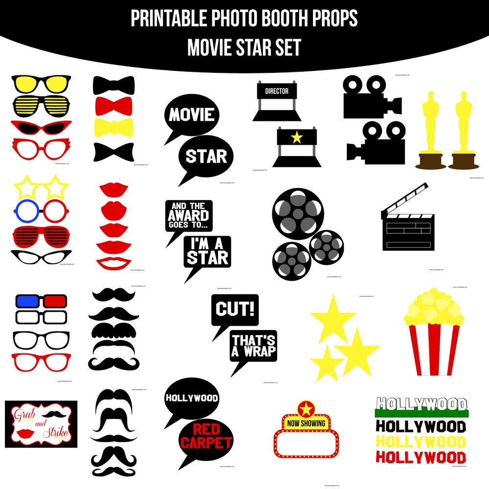 Instant Download Movie Star Printable Photo Booth Prop Set