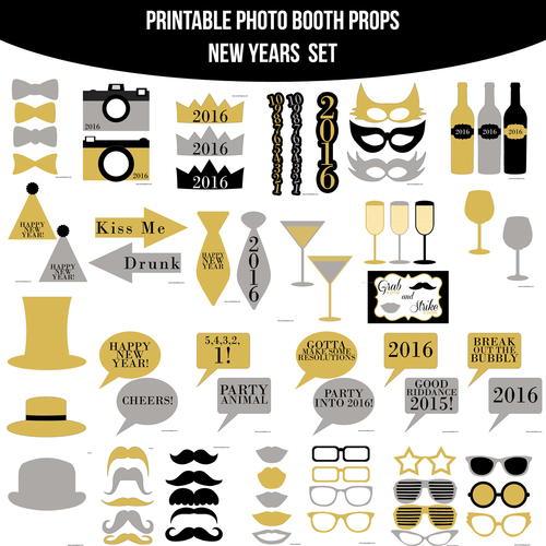 instant download 2016 new years printable photo booth prop set