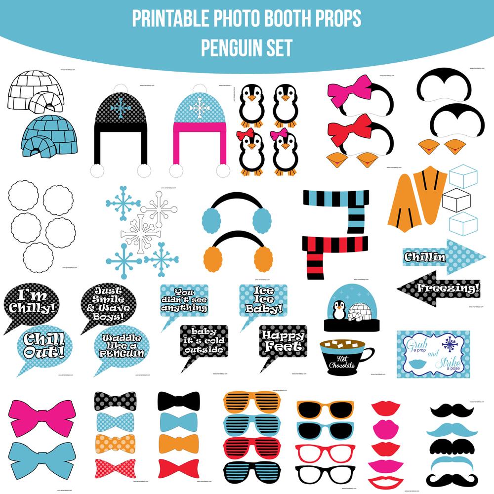 instant download penguin printable photo booth prop set u2014 amanda