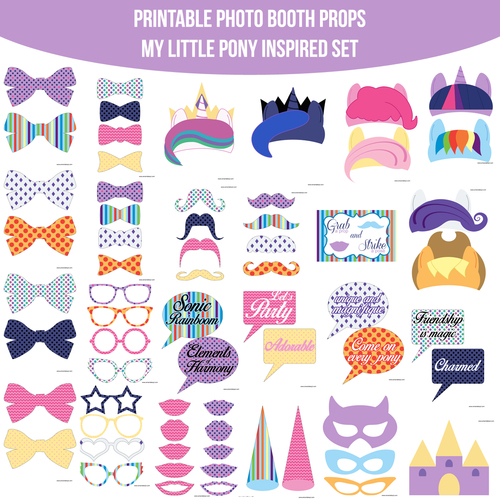 instant download pony mlp my little pony inspired printable photo booth prop set
