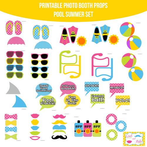 Instant Download Pool Party Summer Printable Photo Booth Prop Set