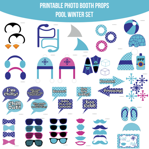Instant Download Pool Party Winter Printable Photo Booth Prop Set