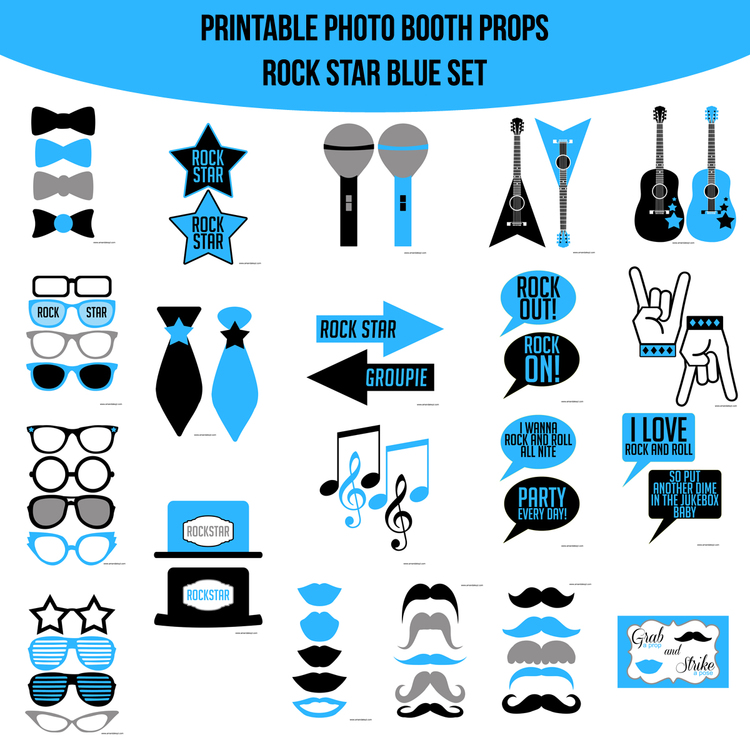 Instant Download Rock Star Blue Printable Photo Booth Prop Set