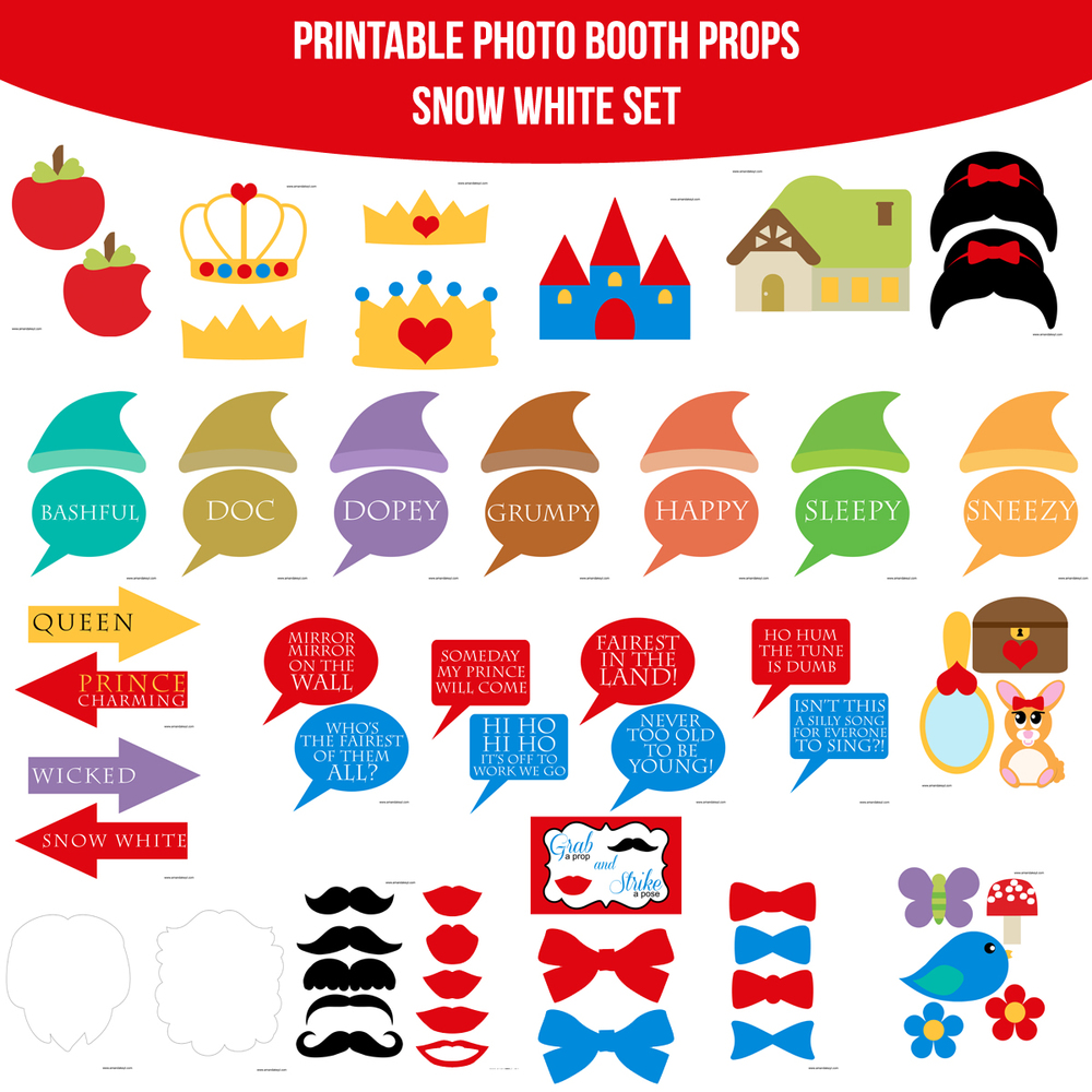 Instant Download Snow White Printable Photo Booth Prop Set
