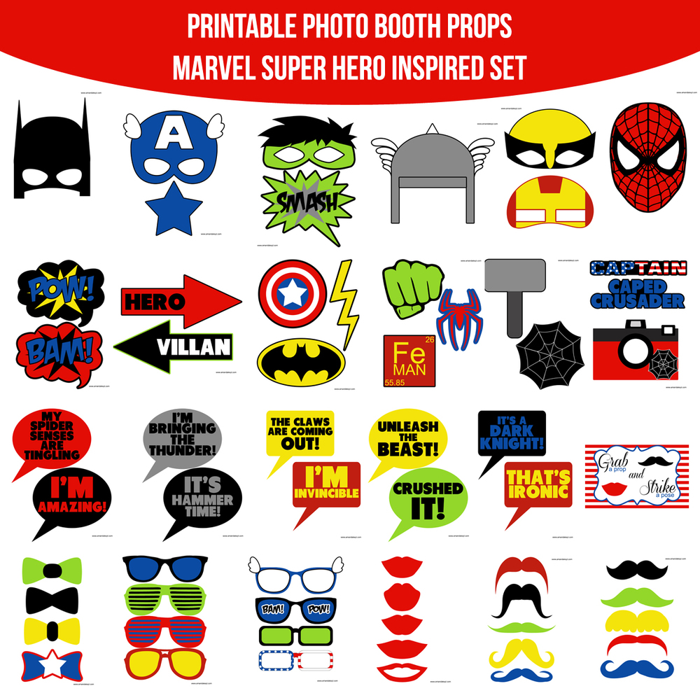 Instant Download Marvel Super Hero Inspired Printable Photo Booth