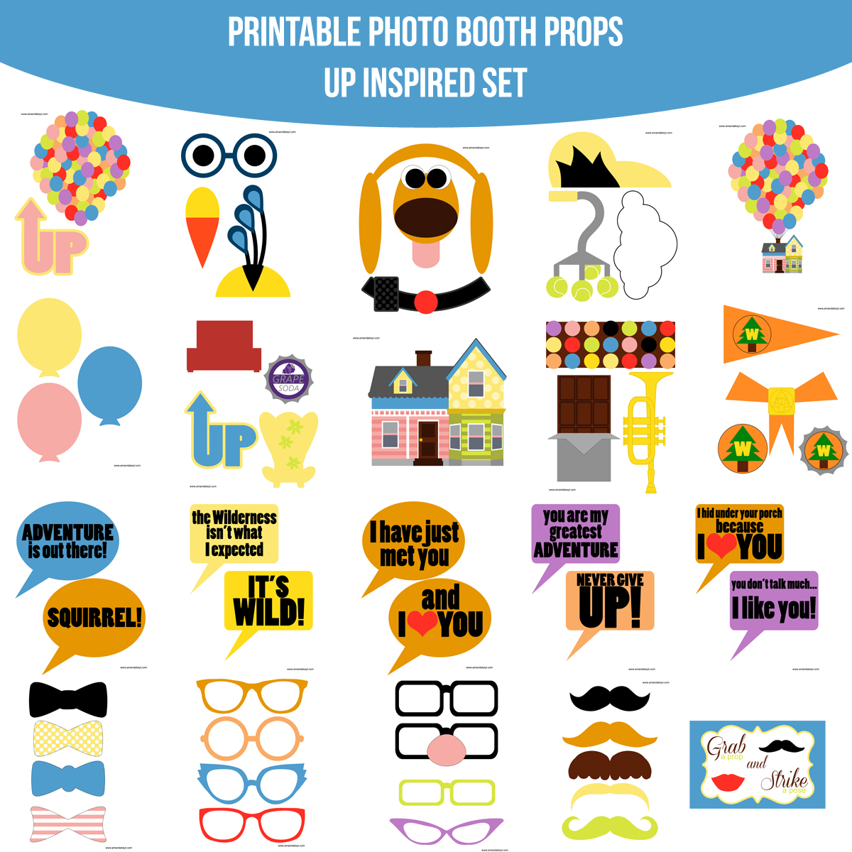 Instant Download Up Disney Inspired Printable Photo Booth Prop Set — Amanda  Keyt Printable Designs