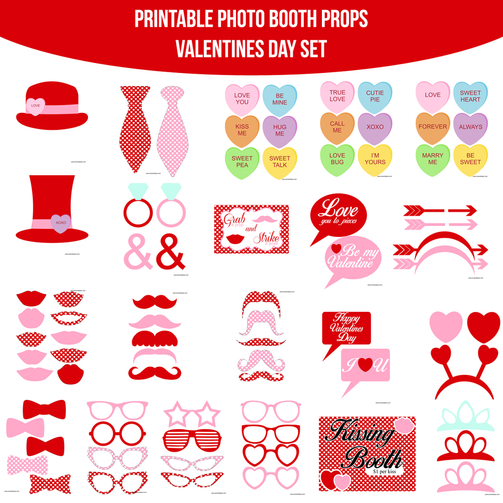 Instant Download Valentines Printable Photo Booth Prop Set. ValentinesDay  ...