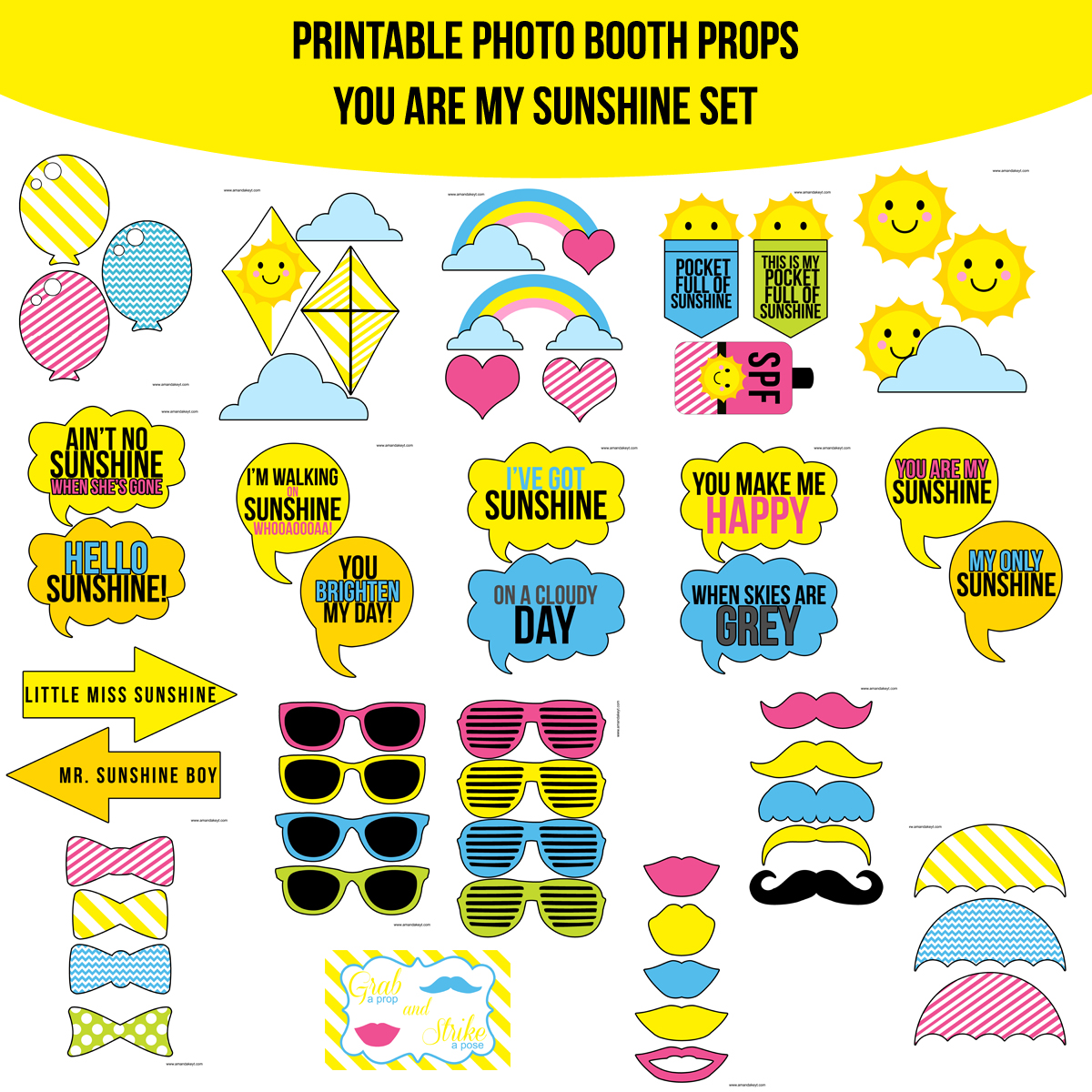 image relating to You Are My Sunshine Printable named Fast Obtain By yourself Are My Sunlight Printable Picture Booth Prop Established  Amanda Keyt Printable Layouts