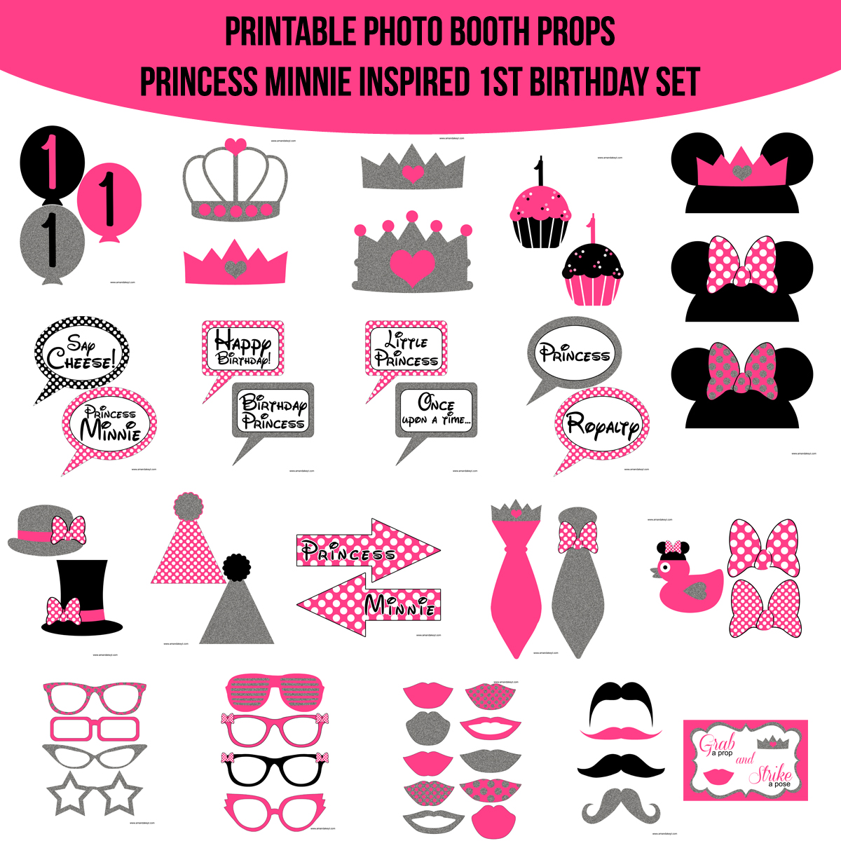 image regarding Minnie Mouse Photo Booth Props Printable named Fast Obtain Princess Minnie Encouraged 1st Birthday Printable Picture Booth Prop Fastened Amanda Keyt Printable Plans