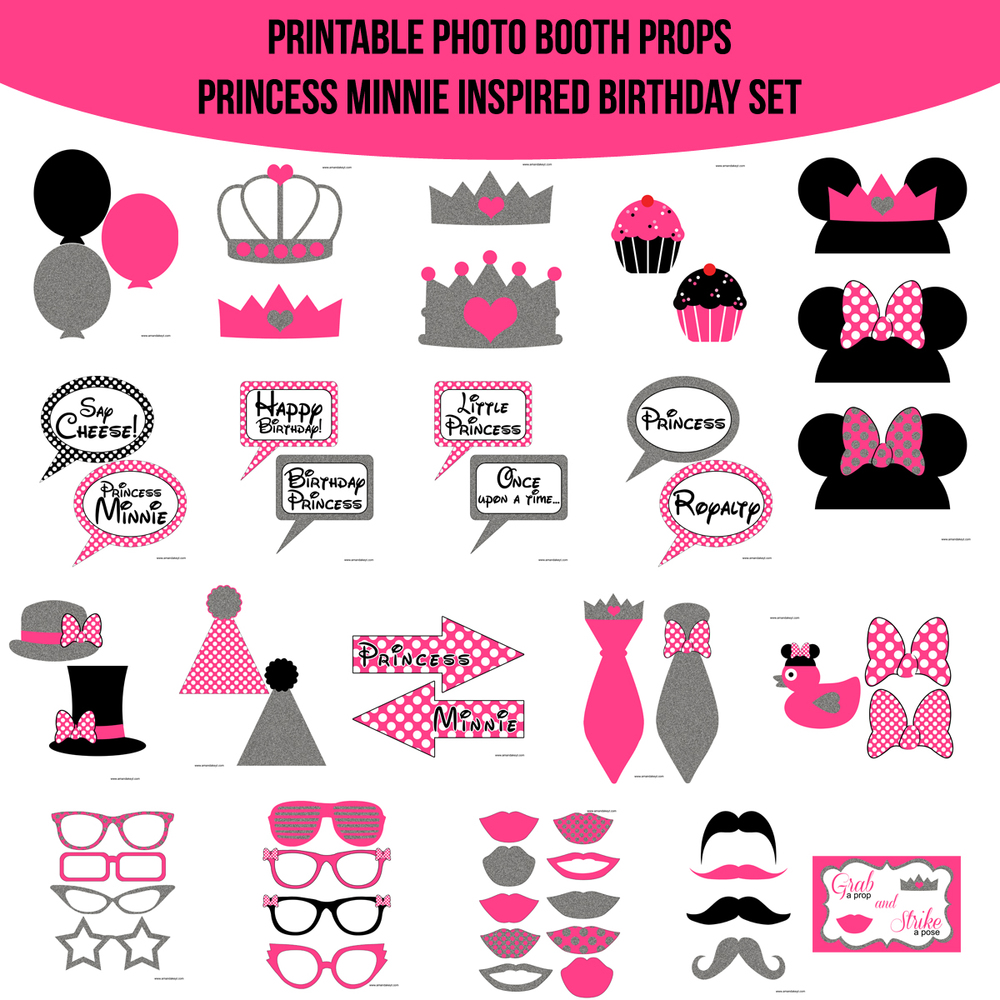 Instant Download Princess Minnie Inspired Birthday Printable Photo