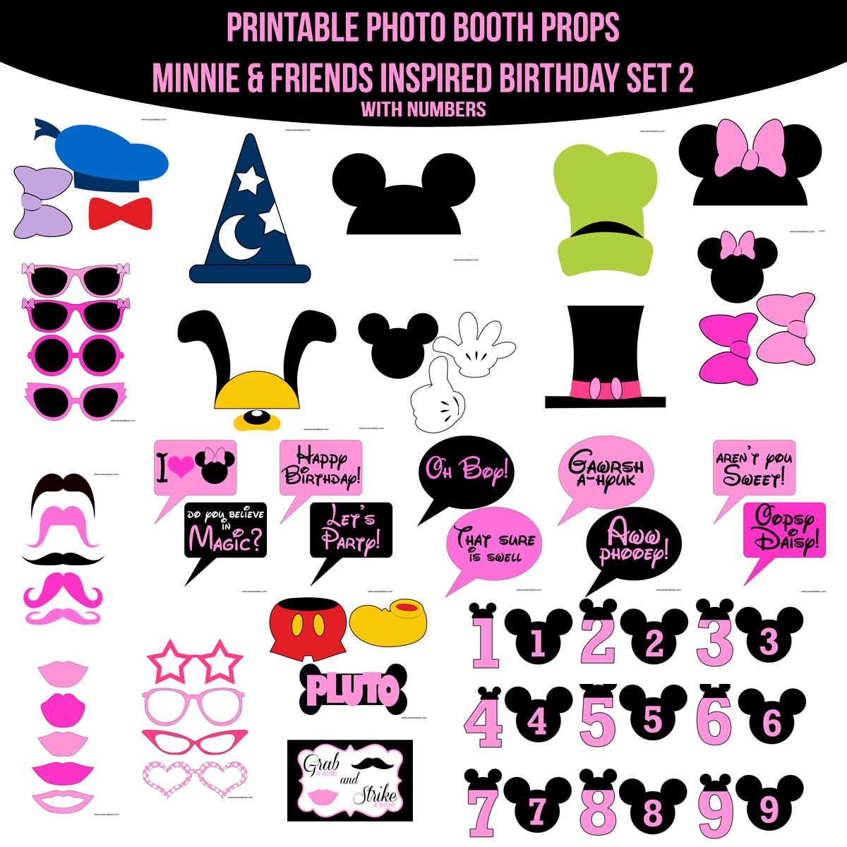 graphic about Printable Photo Booth Props Birthday called Prompt Obtain Minnie Mouse Buddies Birthday Influenced Printable Image Booth Prop Fixed 2 Amanda Keyt Printable Styles
