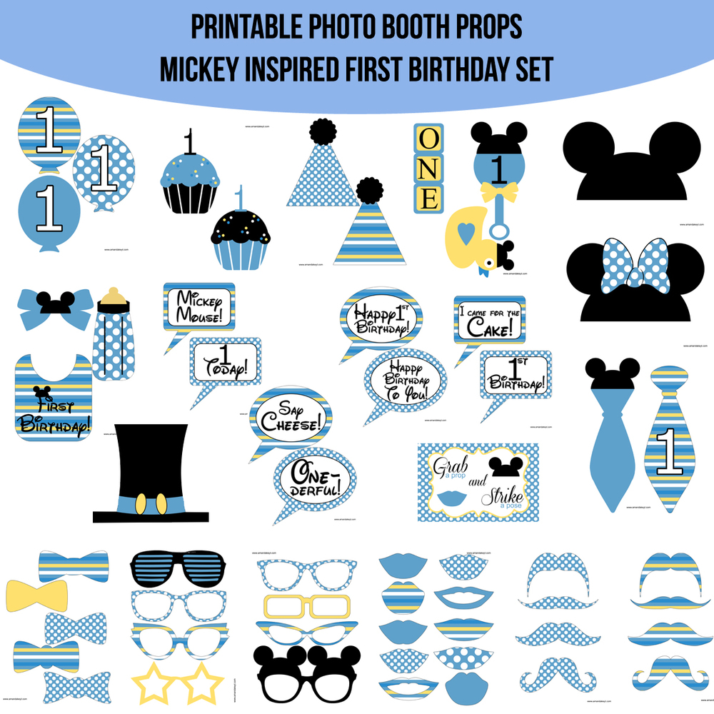 Instant Download Mickey First Birthday Printable Photo Booth Set
